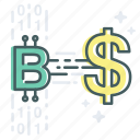 bitcoin, blockchain, cash, currency, digital, exchange, money icon