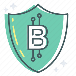 bitcoin, digital, protection, safety, secure, security, shield icon