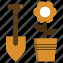 flower, gardening, pot, shovel