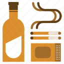 alcohol, cigarettes, drink, matches, vice icon