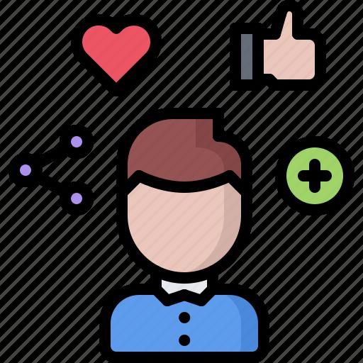 heart, like, man, network, plus, share, social icon