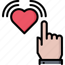 blog, click, hand, heart, like, network, social icon