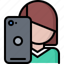 blog, network, phone, photo, selfie, social, woman icon