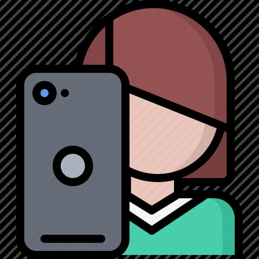 blog, network, phone, photo, selfie, social, woman icon