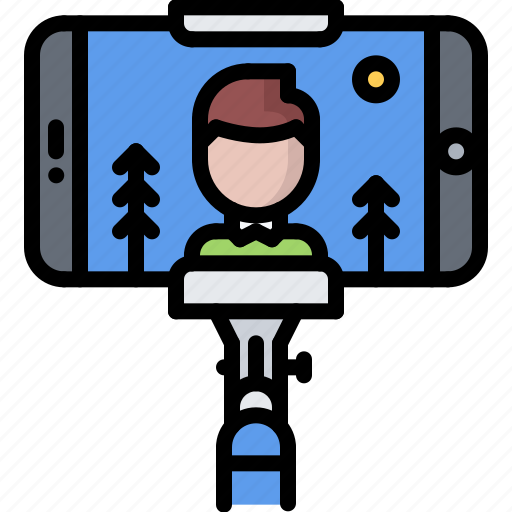 blog, network, phone, photo, selfie, social, stick icon