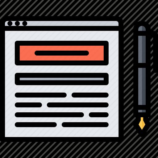 blog, network, pen, post, social, text icon