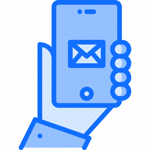 blog, email, hand, letter, network, phone, social icon