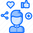 heart, like, man, network, plus, share, social icon