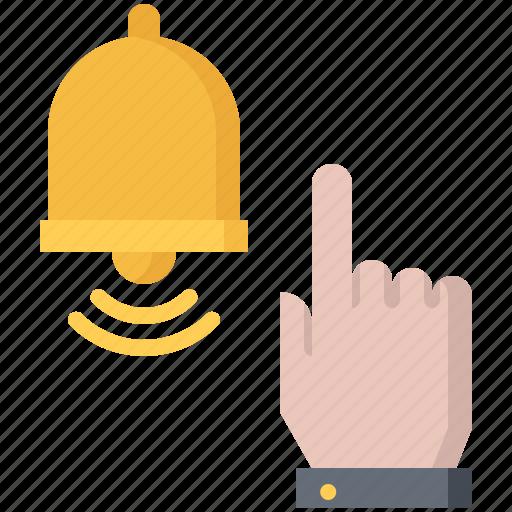 bell, blog, click, finger, hand, network, social icon