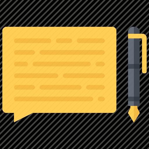 blog, comment, network, pen, post, social, text icon