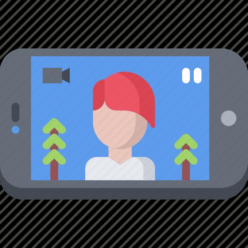 blog, network, phone, recording, social, video icon