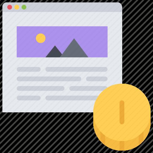article, blog, coin, monetization, money, network, social icon
