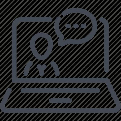 blog, chat, computer, conversation, laptop, live, stream icon