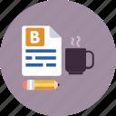 blogging, article, morning, coffee, blog, post, writing