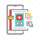 advertising, blog, content, promo, promotion, smartphone, vlogging icon
