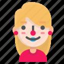 avatar, blond, clown, emoji icon