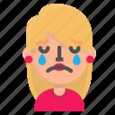 avatar, blond, crying, emoji icon