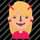 avatar, blond, emoji, evil icon