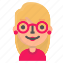 avatar, blond, emoji, nerd icon