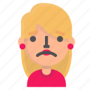 avatar, blond, emoji, sad icon