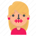 avatar, blond, emoji, silence icon