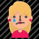 avatar, blond, emoji, tear icon