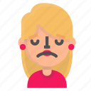 avatar, blond, emoji, upset icon