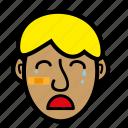 blond, boy, kid, sad, tears icon