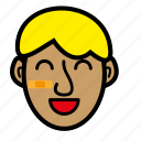 blond, boy, kid, wide smile icon