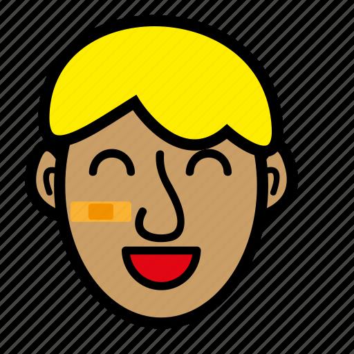 blond, boy, kid, wide smile icon