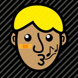 blond, boy, kid, whistle icon