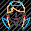 angel, avatar, blond, emoji, emoticon, face, line icon
