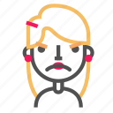 angry, avatar, blond, emoji, emoticon, face, line icon