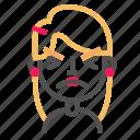 atonished, avatar, blond, emoji, emoticon, face, line