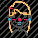 avatar, blond, clown, emoji, emoticon, face, line icon