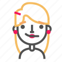 avatar, blond, confused, emoji, emoticon, face, line icon