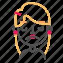 avatar, blond, disenchanted, emoji, emoticon, face, line icon