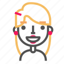 avatar, blond, emoji, emoticon, face, glad, line icon