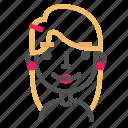 avatar, blond, emoji, emoticon, face, happy, line icon