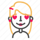 avatar, blond, emoji, emoticon, face, line, love icon