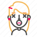 avatar, blond, emoji, emoticon, face, lifeless, line icon