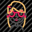 avatar, blond, emoji, emoticon, face, line, nerd