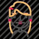 avatar, blond, emoji, emoticon, face, line, neutral icon