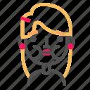 avatar, blond, emoji, emoticon, face, line, sick icon