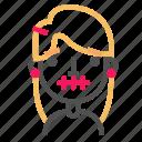 avatar, blond, emoji, emoticon, face, line, silence icon