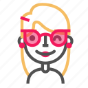 avatar, blond, emoji, emoticon, face, line, sunglasses icon