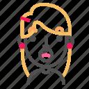 avatar, blond, emoji, emoticon, face, line, surprised