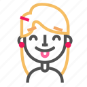 avatar, blond, emoji, emoticon, face, line, tongue icon