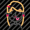 avatar, blond, emoji, emoticon, face, line, profile, tongue icon
