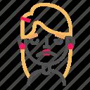 avatar, blond, emoji, emoticon, face, line, upset